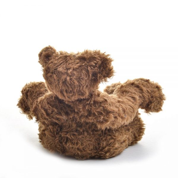 back view of brownie teddy bear, handmade stuffed animal, dark brown handmade teddy bear, traditional crafts, heirloom baby gift