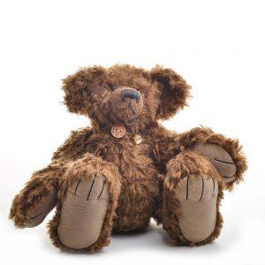 brownie, handmade stuffed animal, dark brown handmade teddy bear, traditional crafts, heirloom baby gift