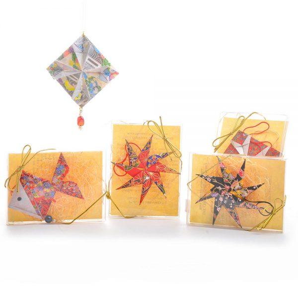 origami paper ornaments, handmade holiday decor