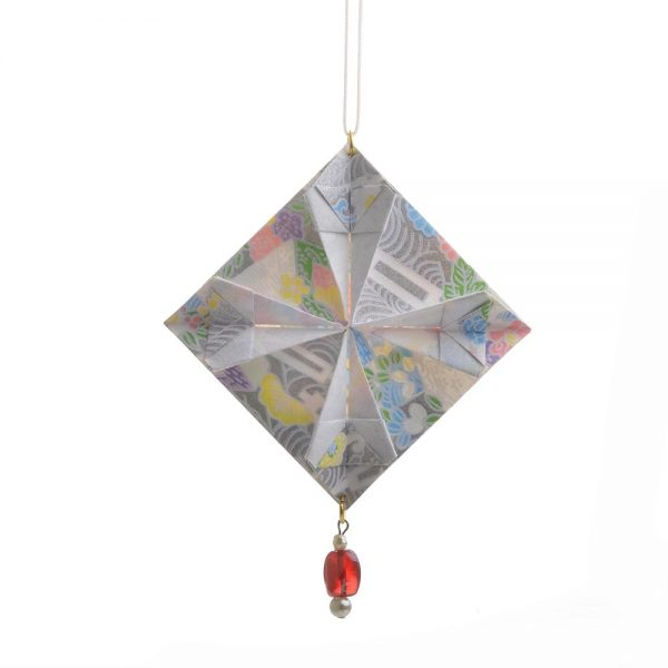 handcrafted silver quilt origami ornament, handmade origami ornament