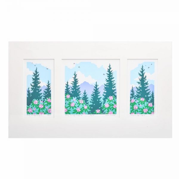 colorful print of mountains and rhododendron, western north carolina view, mountain souvenir, debbie littledeer print, blue ridge parkway decor, folk art center