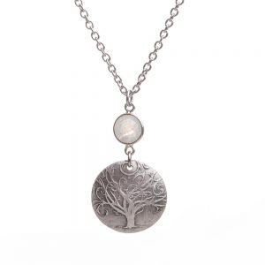 swirly tree silver necklace, hippy jewelry, cast silver tree pendant with gemstones