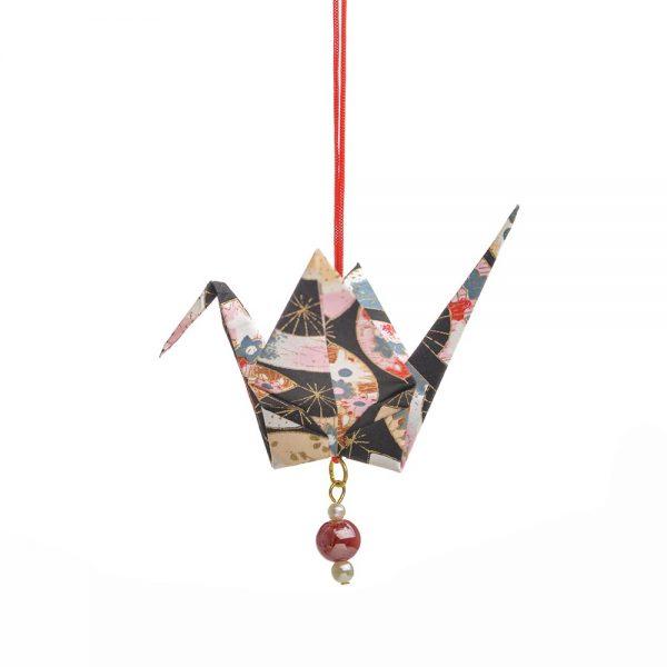 black paper crane, longevity ornament, chinese christmas ornament, handmade paper decor, holiday handmade decor
