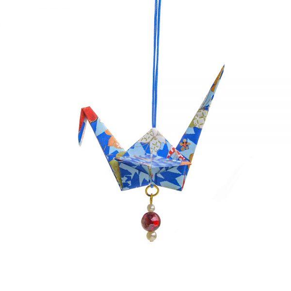 blue paper crane, longevity ornament, chinese christmas ornament, handmade paper decor, holiday handmade decor