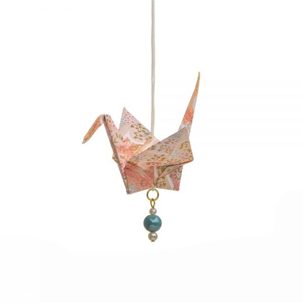 pink paper crane, longevity ornament, chinese christmas ornament, handmade paper decor, holiday handmade decor