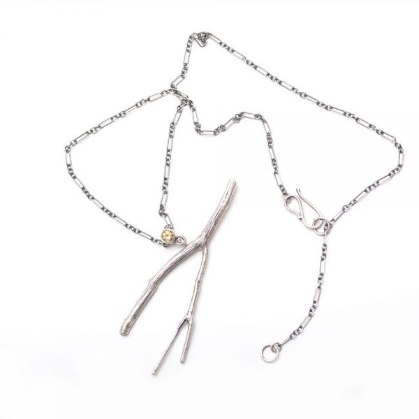 stick and citrine necklace, handmade nature jewelry