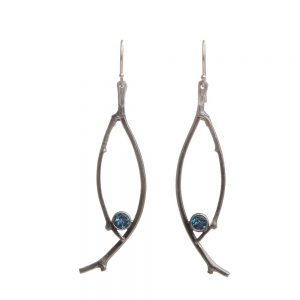 swiss blue topaz earrings, oval stick twig delicate earrings with dark blue stone