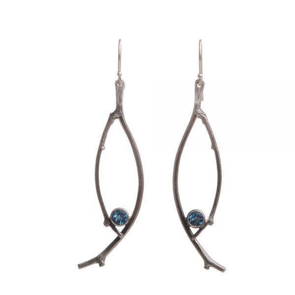 swiss blue topaz earrings, oval stick twig delicate earrings with dark blue stone