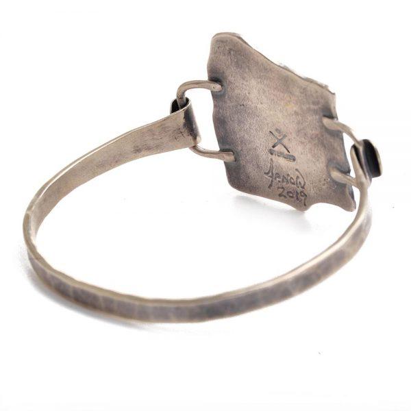 back view ofsilver river rock bark bracelet cuff