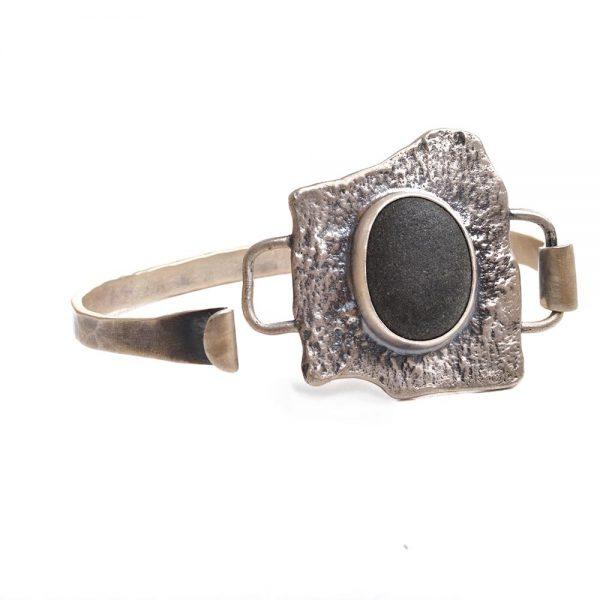 silver river rock bark bracelet cuff