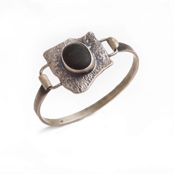 river rock silver cuff, bark cuff bracelet with bark texture