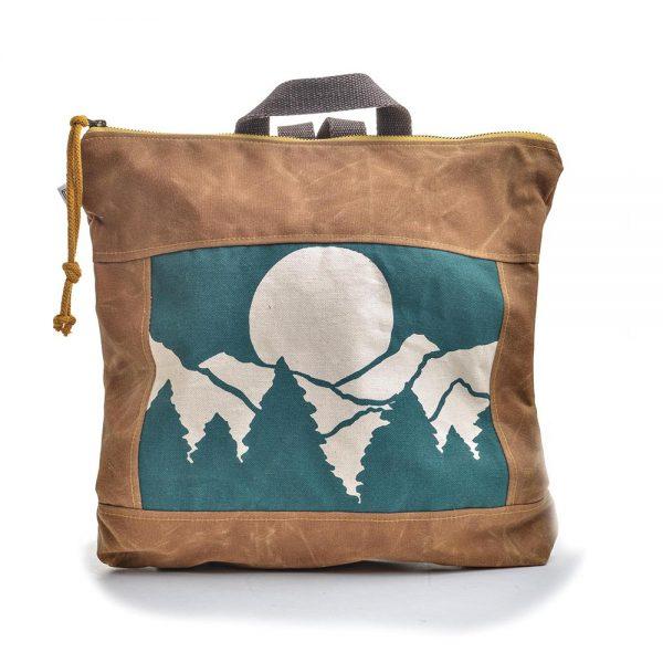 mountain backpack, handmade canvas bag, rachel elise bags, folk art center, teal and brown bag