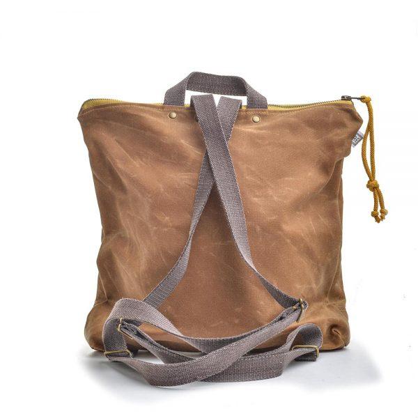 back view of canvas backpack, rachel elise designs, elementality asheville, folk art center