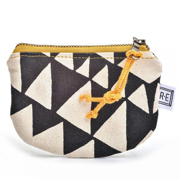 vegan coin purse, vegan gift, handmade coin purse, black and white with yellow zipper purse