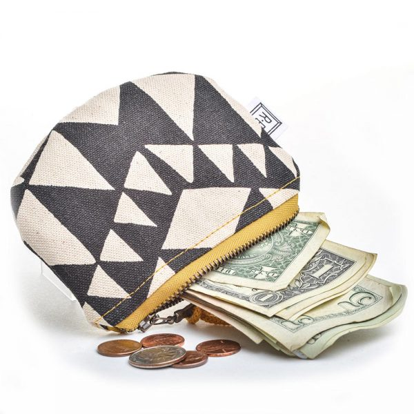 black and white waxed canvas coin purse