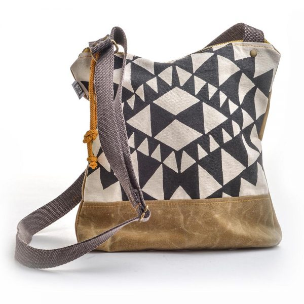 black and white handprinted vegan bag, vegan canvas bag, elementality asheville, rachel elise bags, teen present, casual shoulder cross body bag