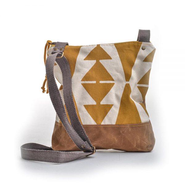 mustard geometric printed canvas bag, vegan canvas bag, elementality asheville, hippy shoulder bag, folk art center, southern highland craft guild