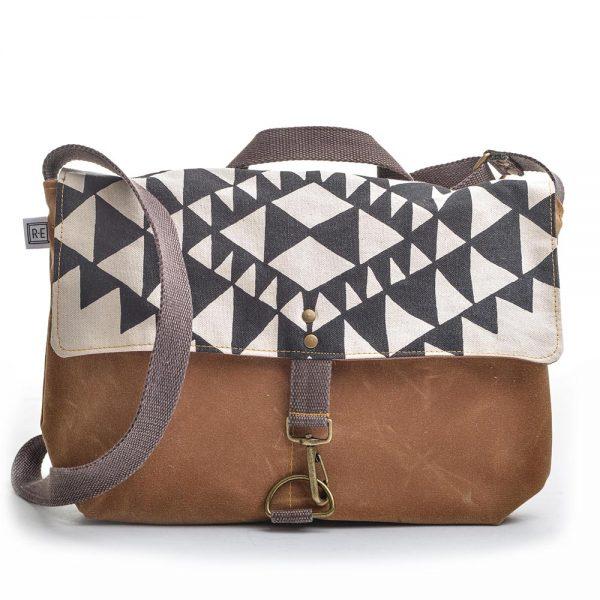 vegan bag, black white and brown canvas large shoulder bag, handmade canvas shoulder bag, rachel else, elementality asheville,