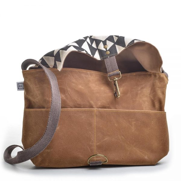front flap open of black and white commuter bag, rachel elise bags, elementality asheville, handmade shoulder bag