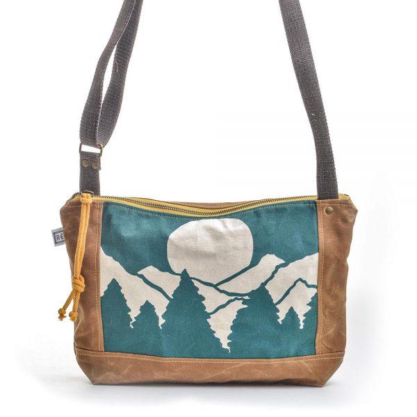 teal mountain canvas bag, vegan canvas bag, handmade printed bag, elementality bag, rachel elise bags, folk art center