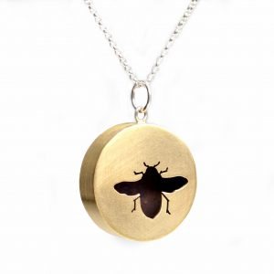 copper handmade bee shadowbox necklace on silver chain