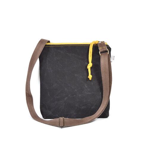 back view of black crossbody bag