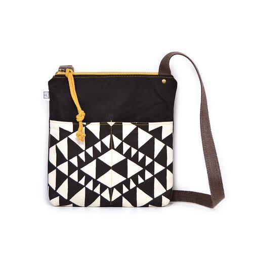 black and white printed crossbody waxed canvas bag, vegan crossbody bag