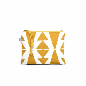 white and mustard yellow triangle pattern canvas cosmetic pouch