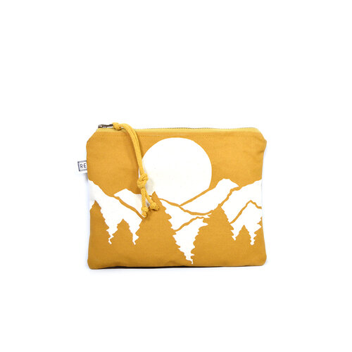mustard vista waxed canvas cosmetic pouch