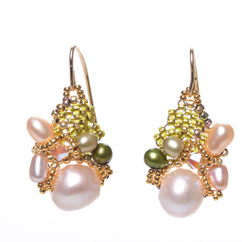 White Pearl Cluster Earrings by Amolia Willowsong