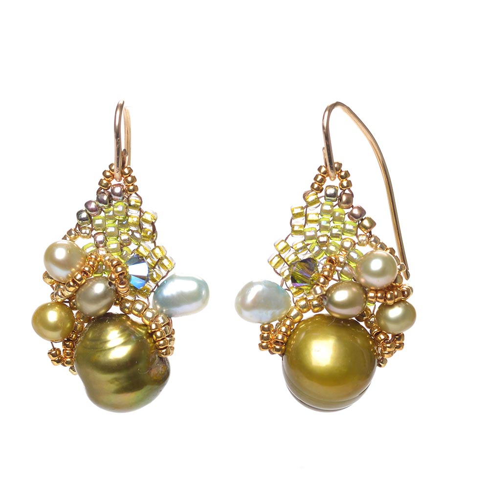 Green Pearl Cluster Earrings by Amolia Willowsong