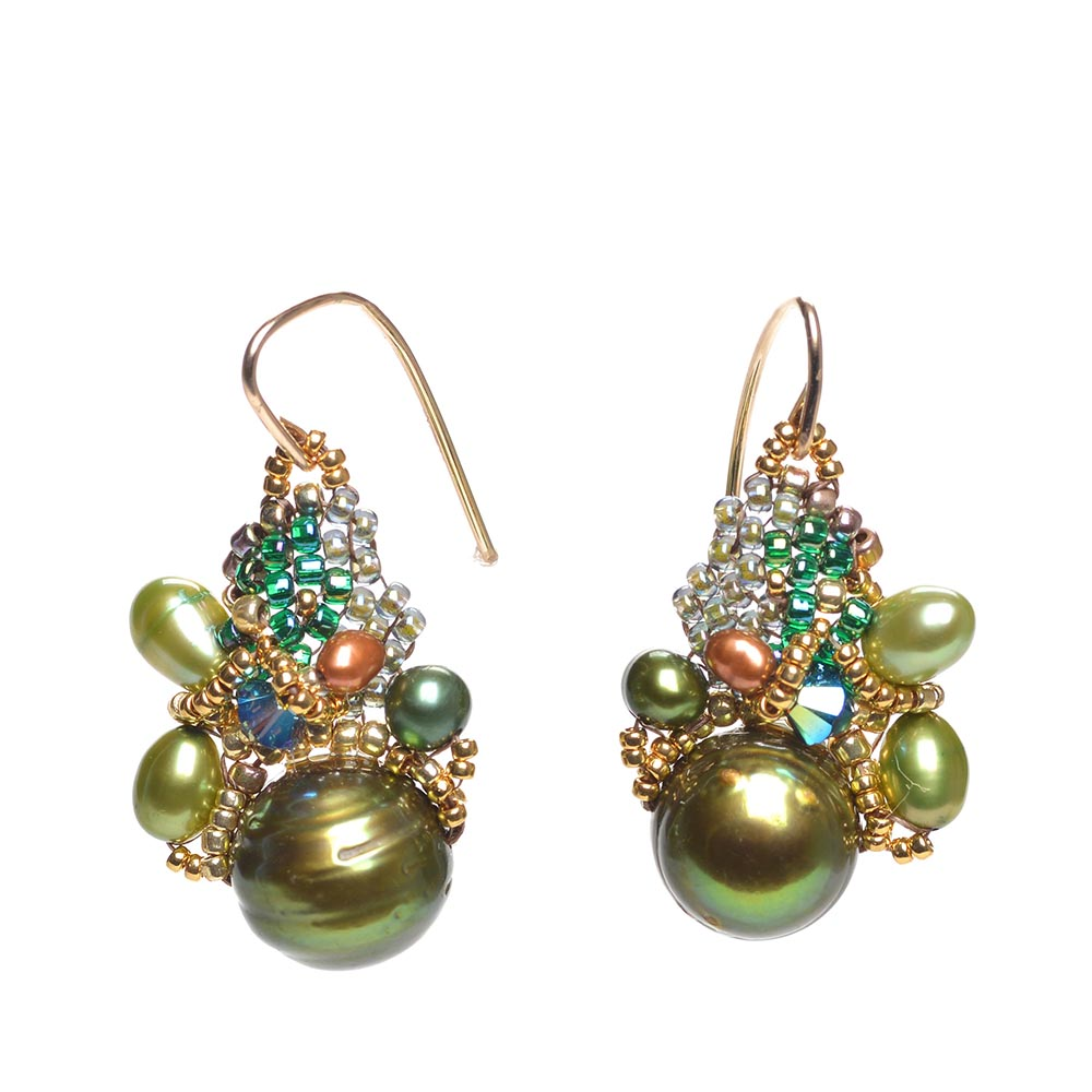 SOLD - Orient Express Green Pearl Earrings by Amolia Willowsong