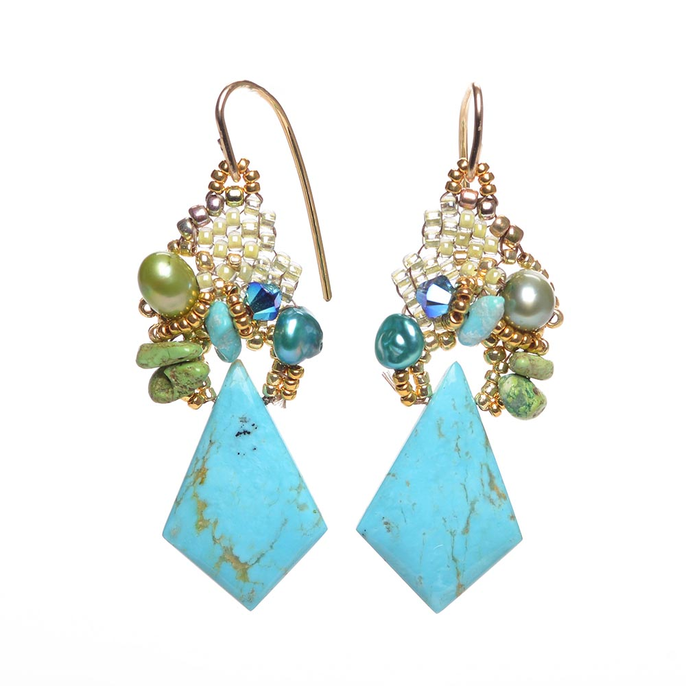 Rhapsody in Blue Turquoise Earrings by Amolia Willowsong