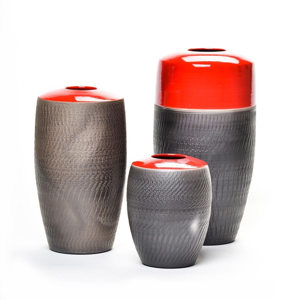 set of 3 black and red raku vases, north carolina raku potter
