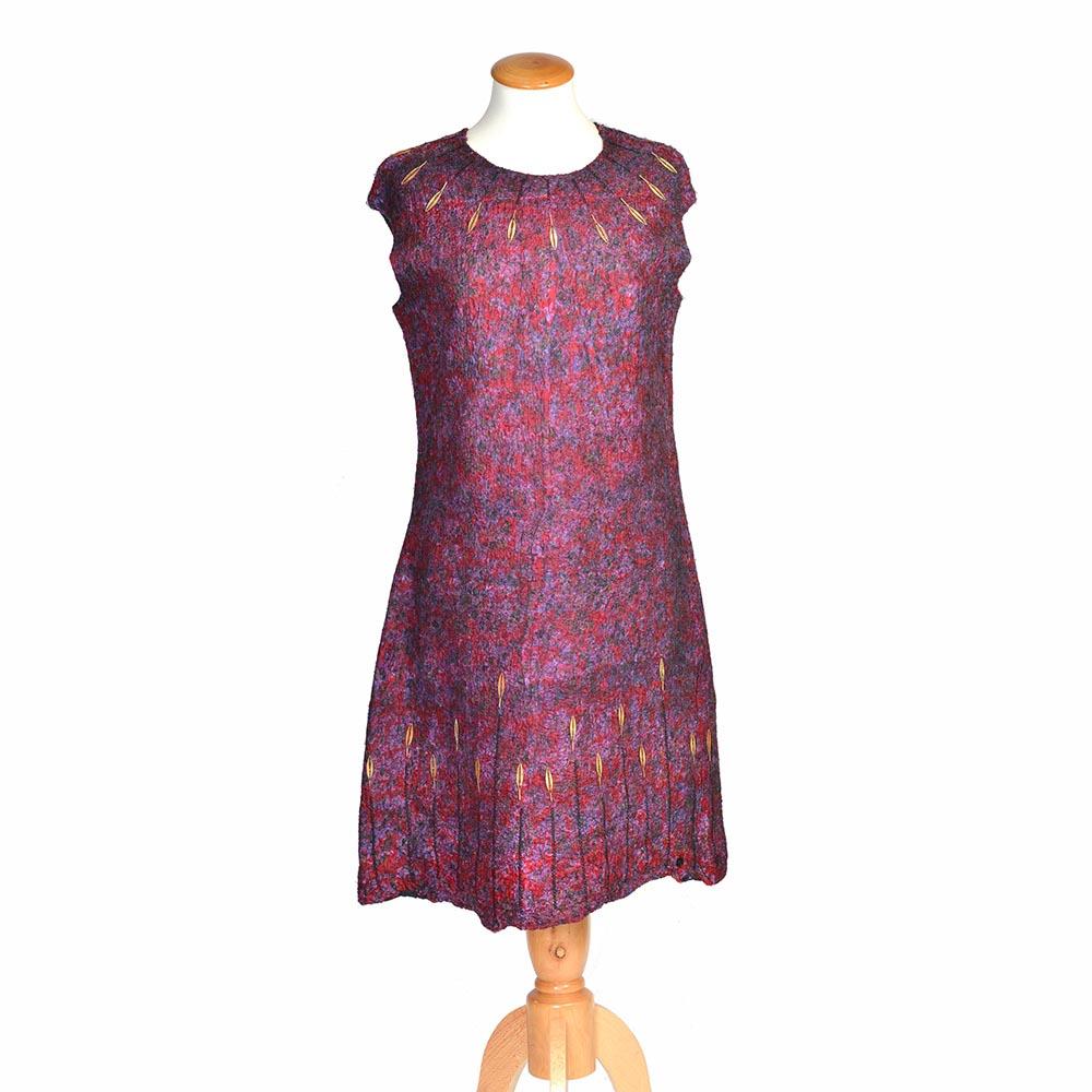 felted pink dress with leave beads, handmade felted dress, warm winter dress, folk art center, nc fiber artist