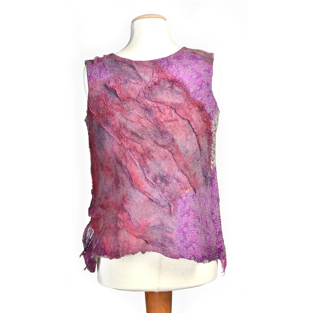 Felted Pink Patchwork Vest by Kami Watson