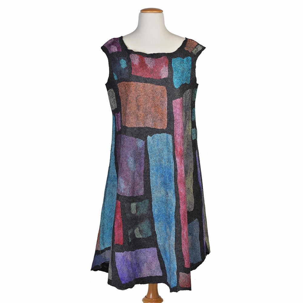 felted patchwork dress, handmade unique dress, one-of-a-kind felt