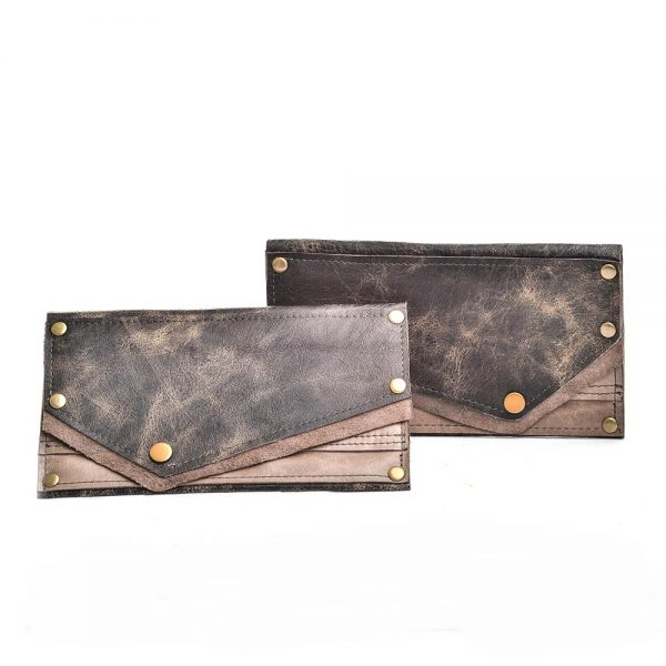 leather handmade wallet, gray and black recycled leather wallet