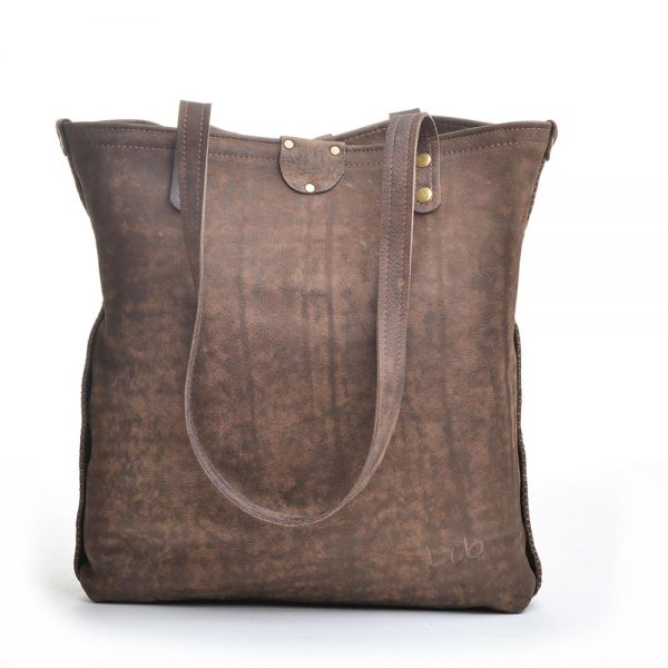 back view of leather bag with big pocket,