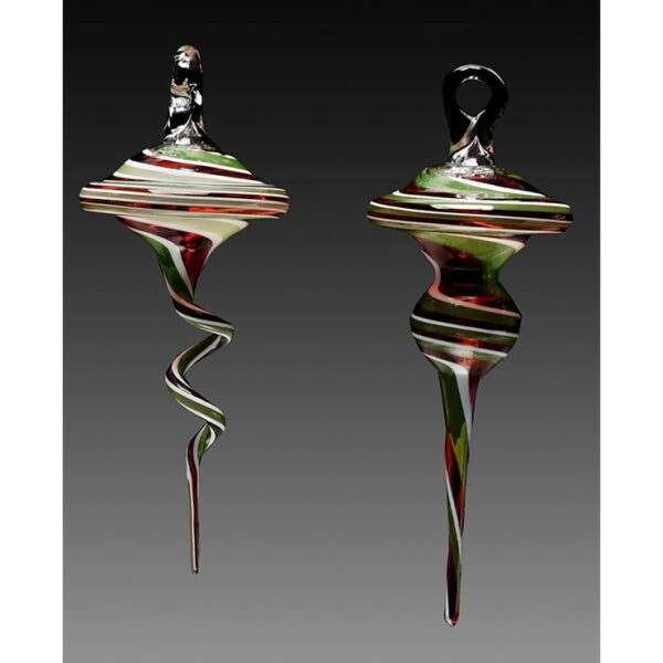 red green and white handmade glass christmas ornaments