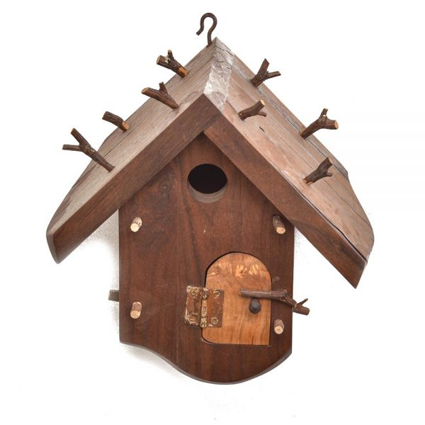 walnut handmade birdhouse, functional handmade birdhouse, folk art center, southern highland craft fair