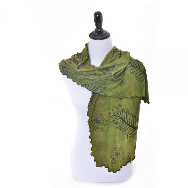 handmade hand printed scarf, bamboo clothing, bamboo scarf