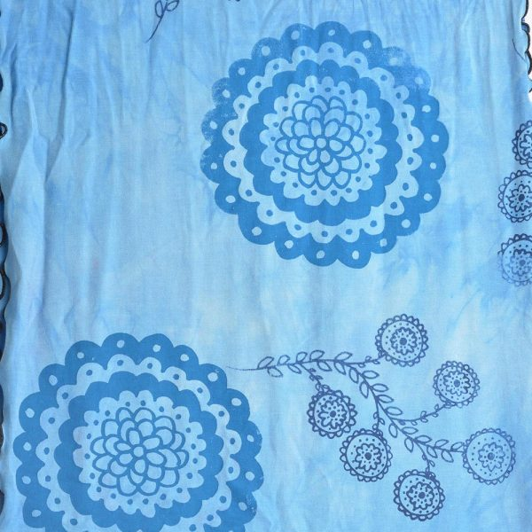 detail of print on scarf, bamboo scarf, blue handmade scarf