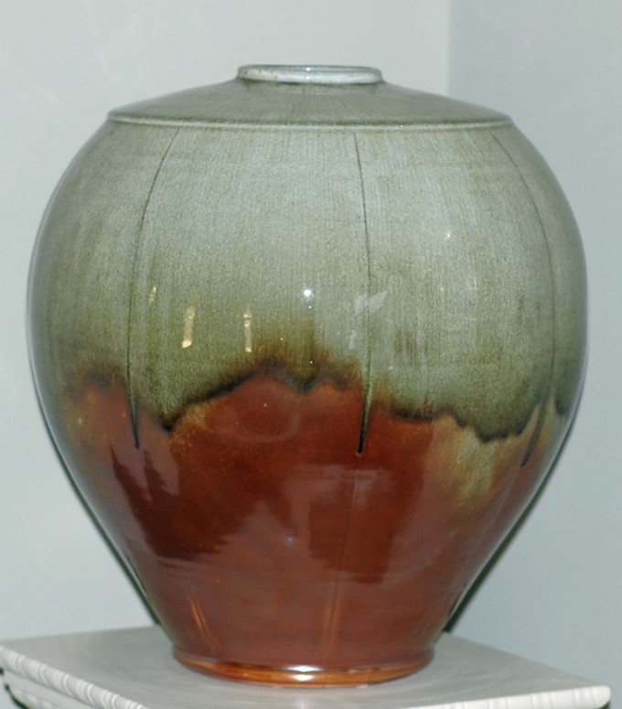 Melon Vase, Ben Owen III, 2007 stoneware - wood fired, shino glazed, small top opening.
