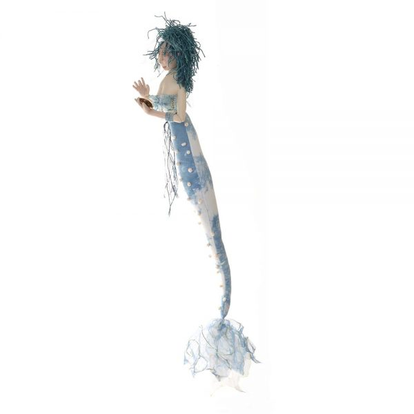 blue handmade mermaid, nc dollmaker,