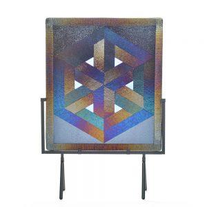 me escher, tetrahedron art, optical illusion art, folk art center, fused glass panel
