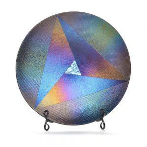 round fused glass platter, iridescent dark glass, modern glass art, folk art center