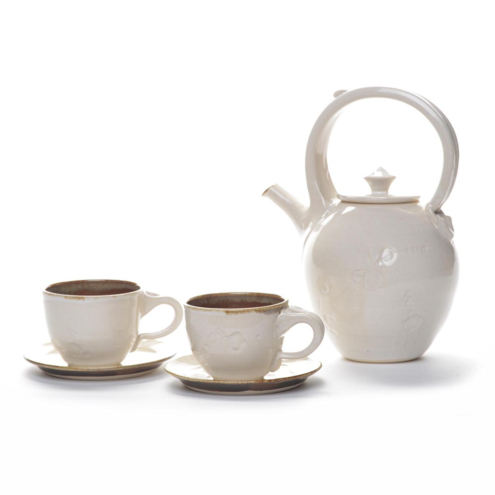 white tea set, handmade tea set,