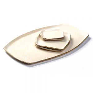 white slab clay sushi set, handmade wedding gift, plate set