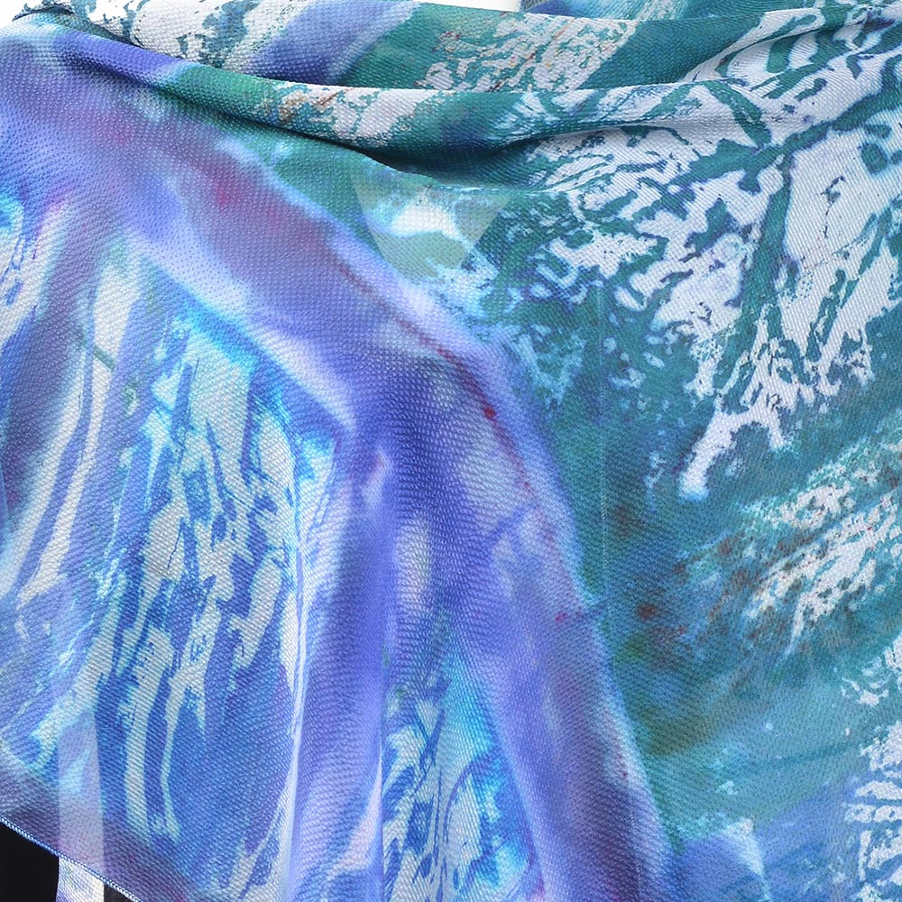 detail of blue and green chiffon scarf, tie dyed chiffon wrap, handmade shawl
